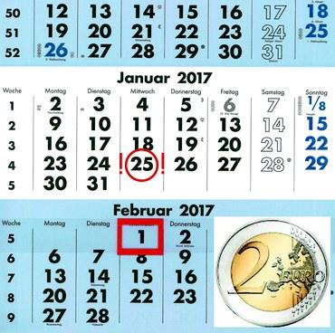 Kalender zu spät mit 2€