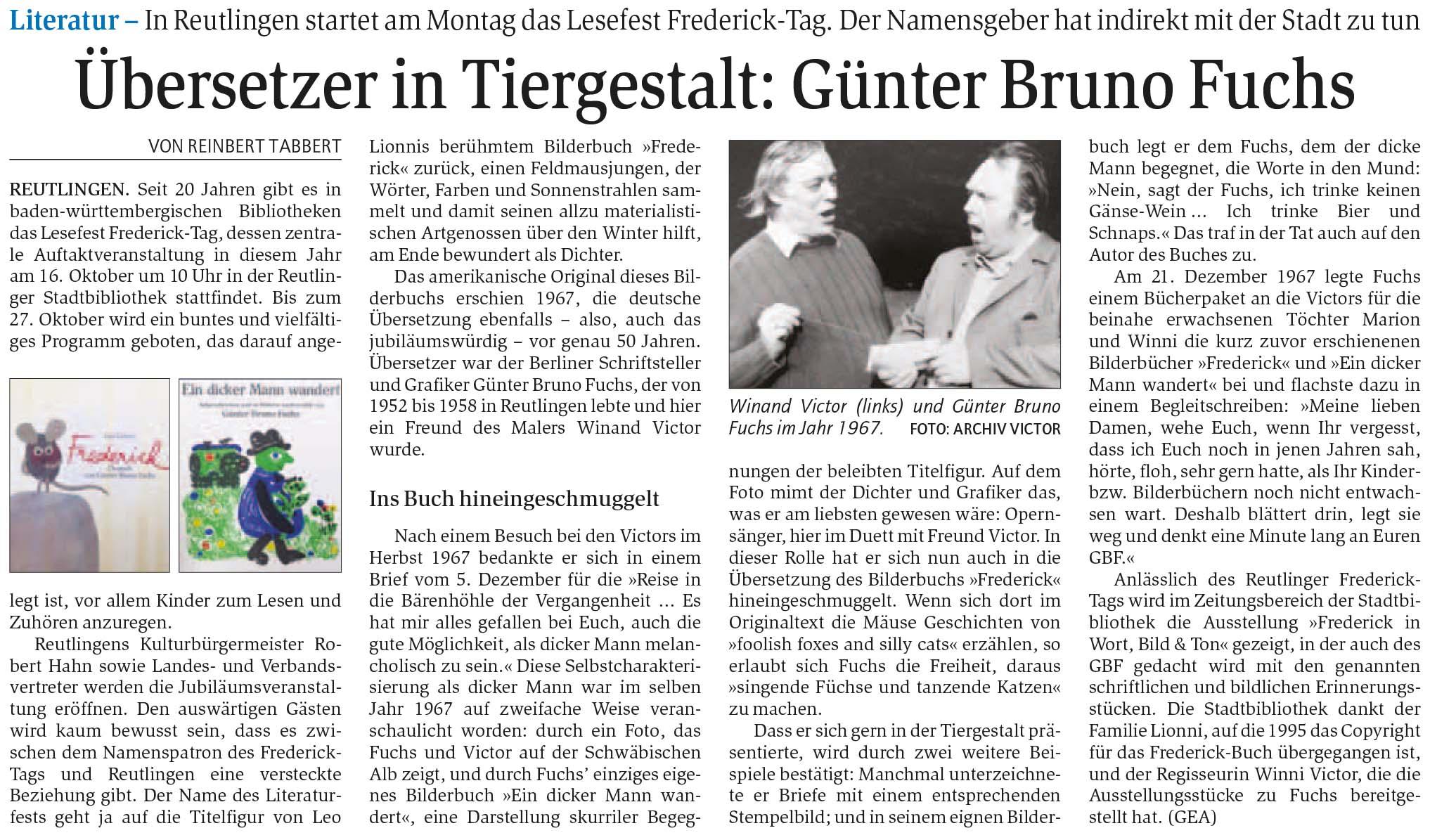 Übersetzer in Tiergestalt: Günter Bruno Fuchs