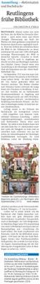 Reutlingens frühe Bibliothek